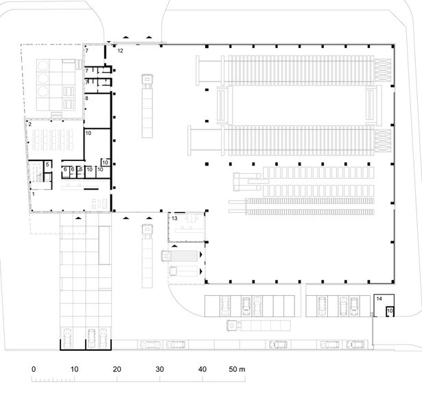 Wonderful Poppe*Pehal, Paul Blau GmbH, Gewerbebau, Bürobau, Lagerhalle, Fassade,  Kupferrot, Innenraum, Grundriss