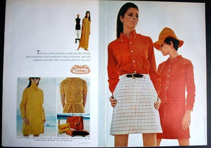 1968 ad Villager women s 1960 s orange  yellow fashion vintage print ad  1960s Funk  Flash