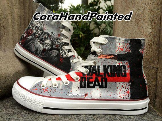 288aa1e63e71 Custom Painted Canvas Sneaker The Walking Dead Best Presents for Custom  Converse