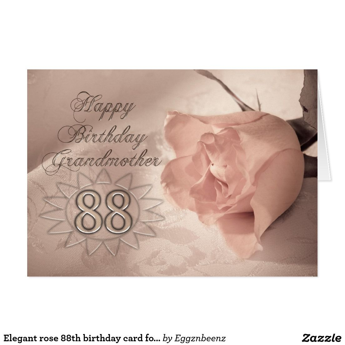 Elegant Rose 88th Birthday Card For Grandmother
