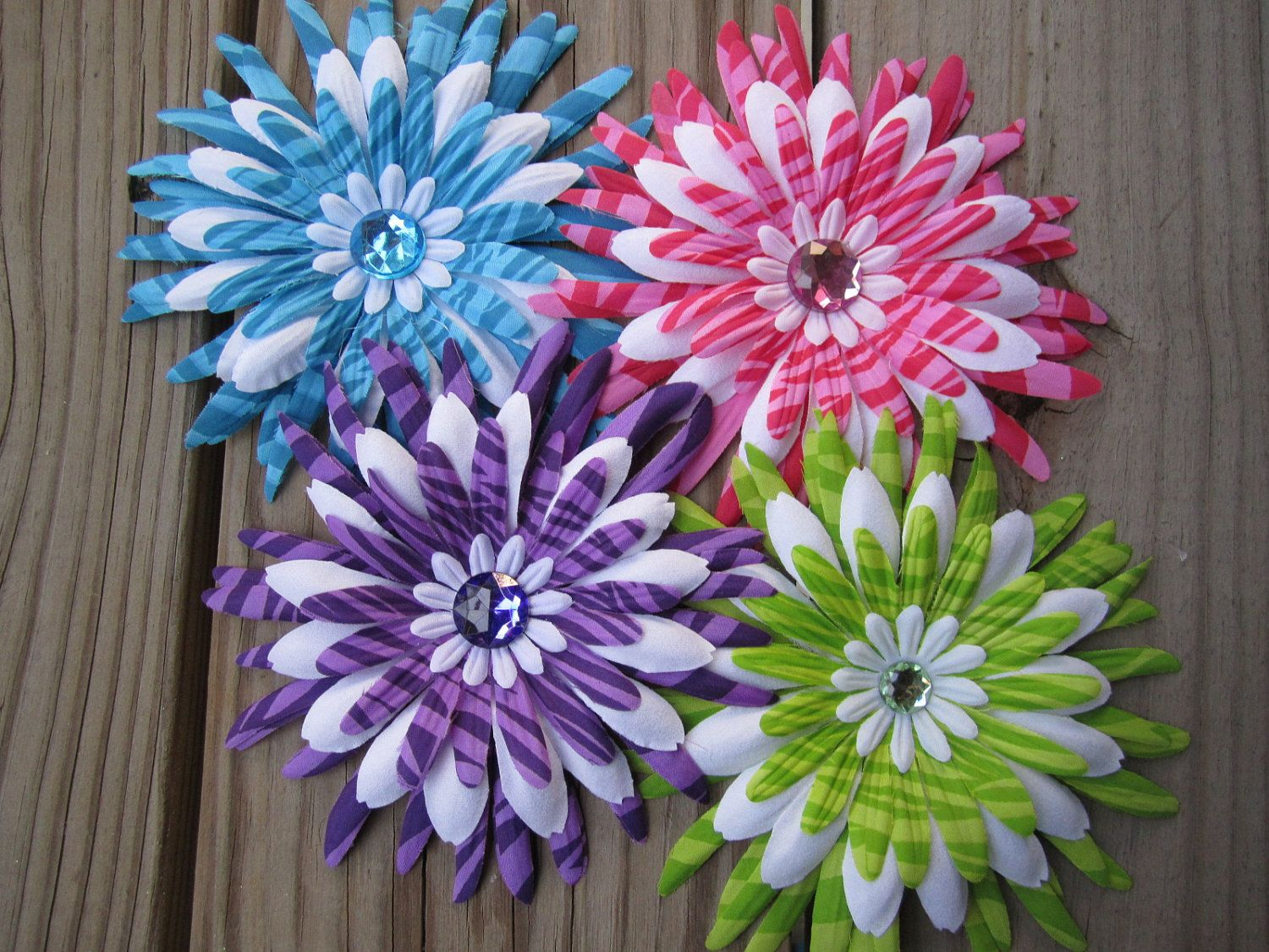 Colorful zebra set of colorful zebra print flower hair clips by
