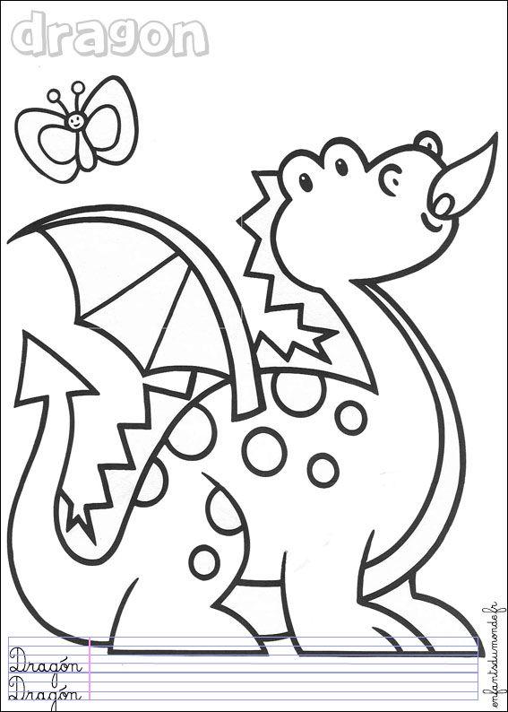 Coloriage dragon 1 moyen age coloriages magiques maternelle coloriage dragon et coloriage - Coloriage moyen age maternelle ...