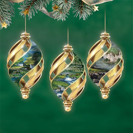 Irish Yule tree ornaments. Brighid's Cross, the Irish harp ...