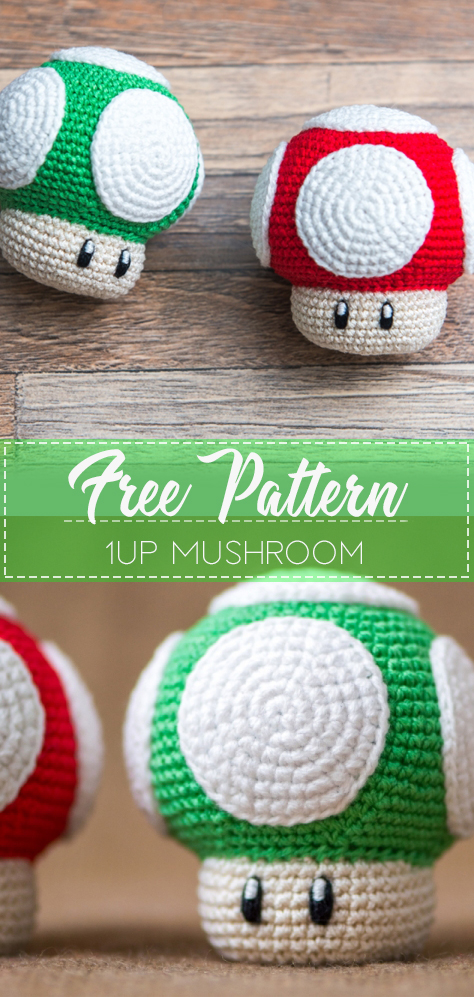1Up Mushroom – Pattern Crochet – Cute Crochet #cutecrochet