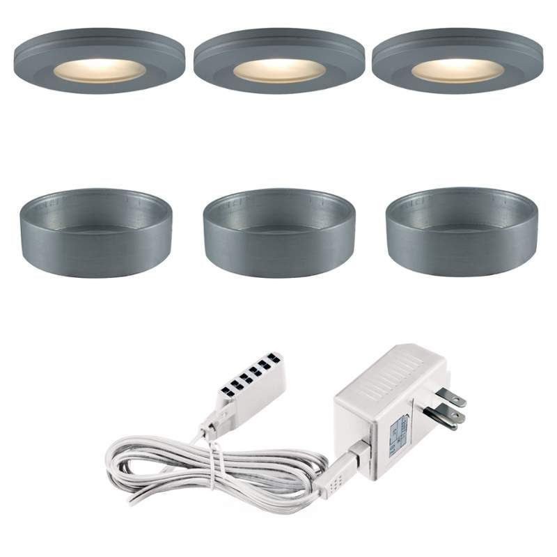Jesco Lighting KIT-PK504-SG-A Xenon Beveled Edged Slim Under Cabinet Disk Kit Silver Gray Indoor Lighting Under Cabinet Puck and Button Lights