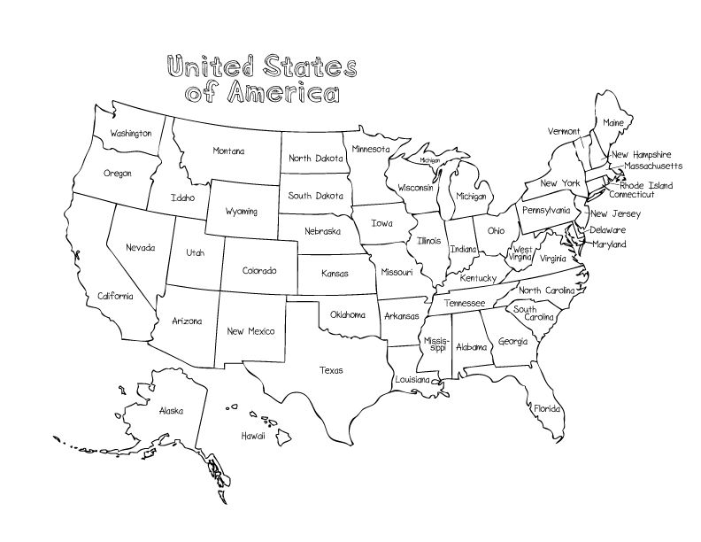 Printable State Maps For Kids map of us printable for kids