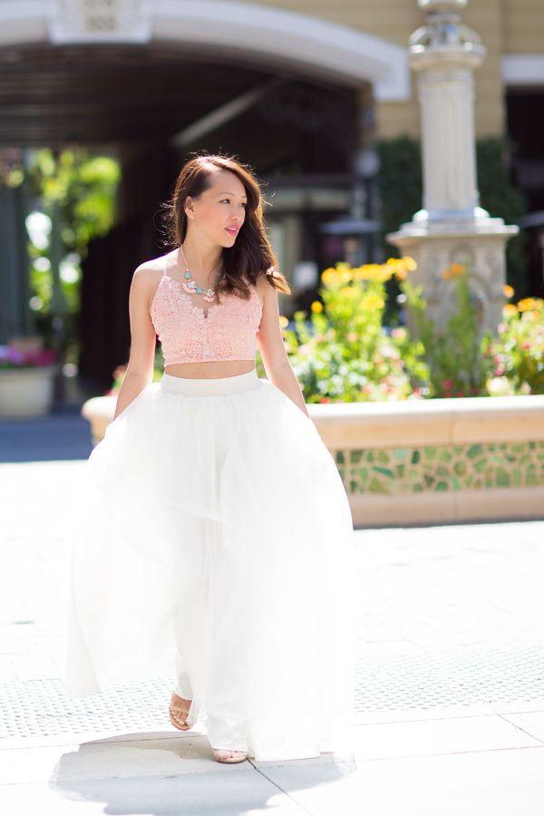 long tulle skirt, white tulle skirt, petite fashion, style blog ...
