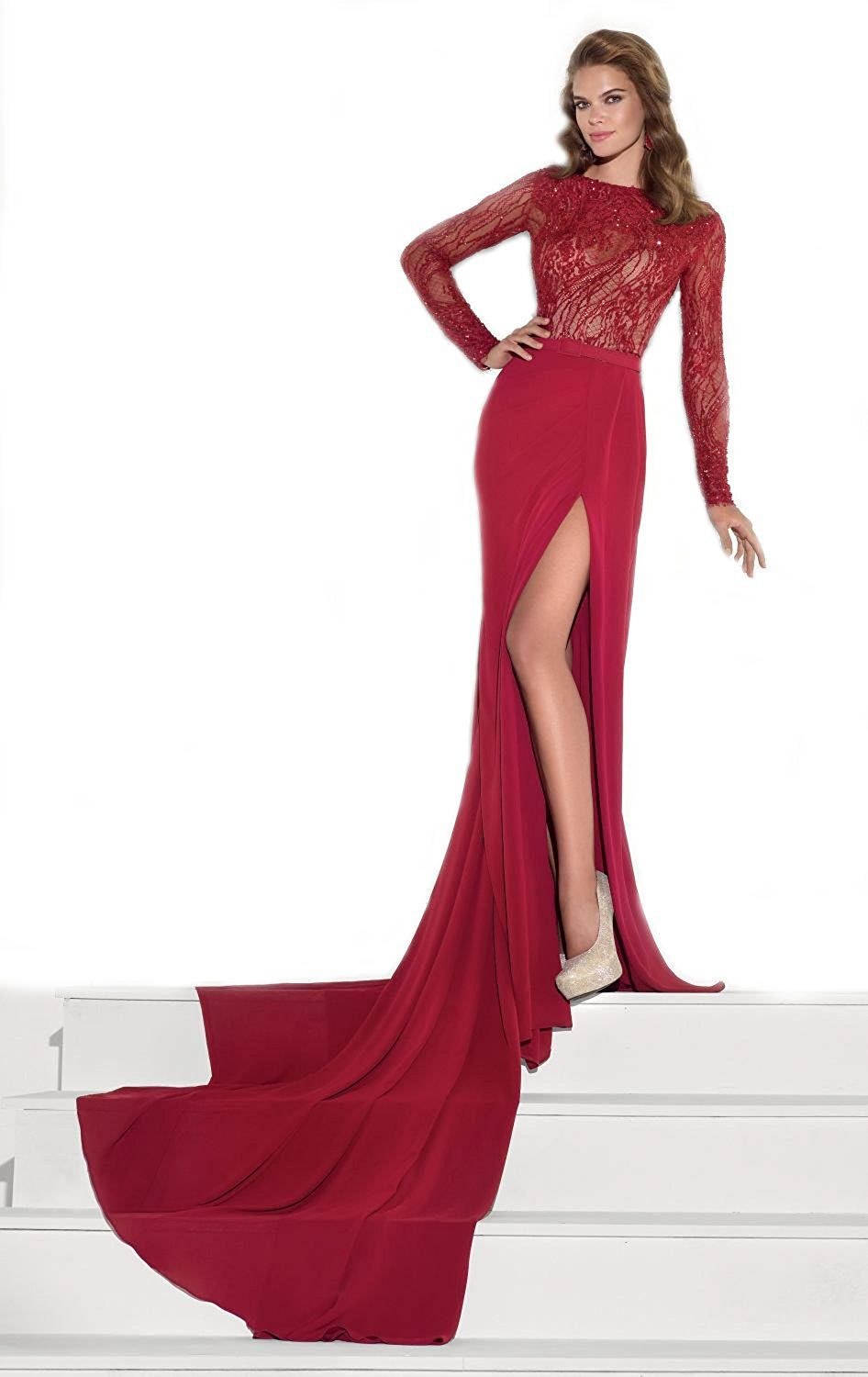Topsexy burgundy long sleeved lace slit gown trumpet mermaid prom