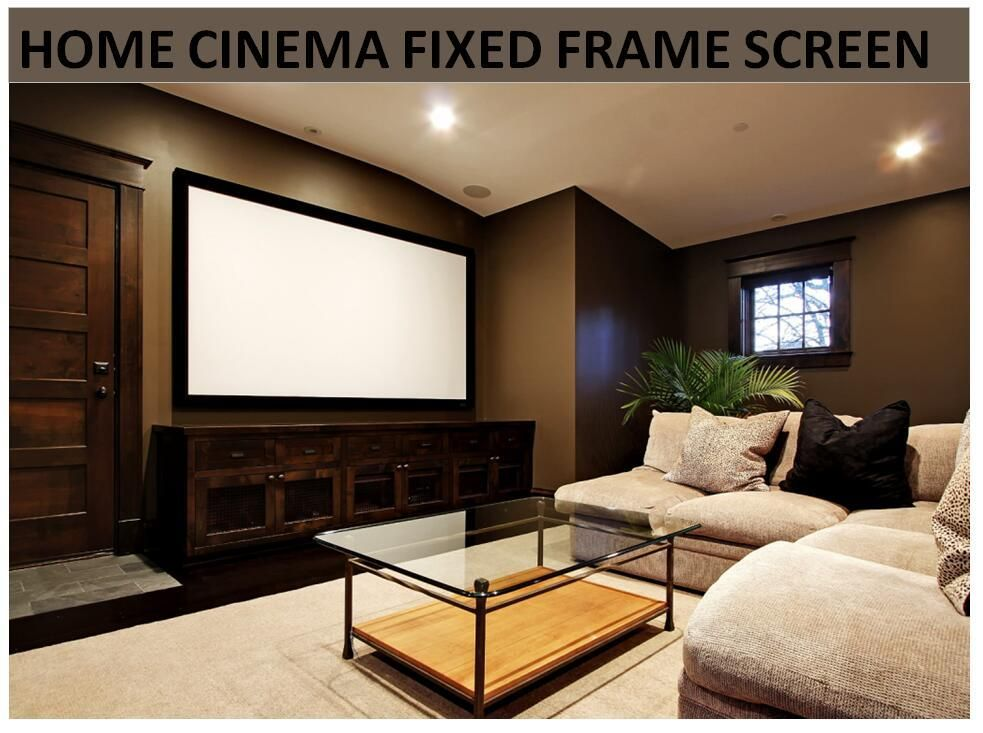 F1hwaw Homecinema 16 9 Hdtv 4k White Woven Acoustic Transparent Sound Acoustically Fixed Frame Projection Projector Screen Basement #projection #screen #living #room