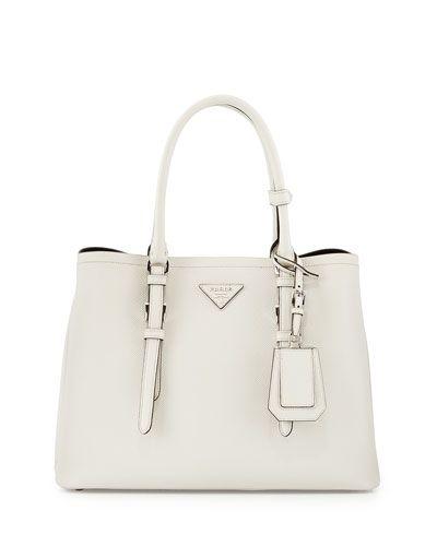 0a2ee7deadd28 Saffiano Cuir Covered-Strap Double Bag White (Talco) | h e r s ...