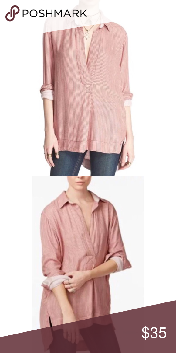 9c04f1d6 This Free People Peach Combo Striped On The Road Tunic Shirt Top is the  perfect oversized ...