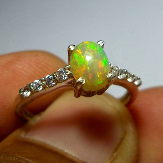 Handcrafted Special Fine Rings 8 MM Top Grade Natural Rainbow Fire Ethiopian Opal Ring Round Shape 925 Sterling Silver Unique Design Ring