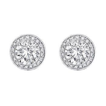 Estate Betteridge Collection European Cut Diamond Stud Earrings With Pavé Surround