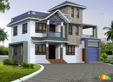 Two storied Sloping roof House More than 3000sqft