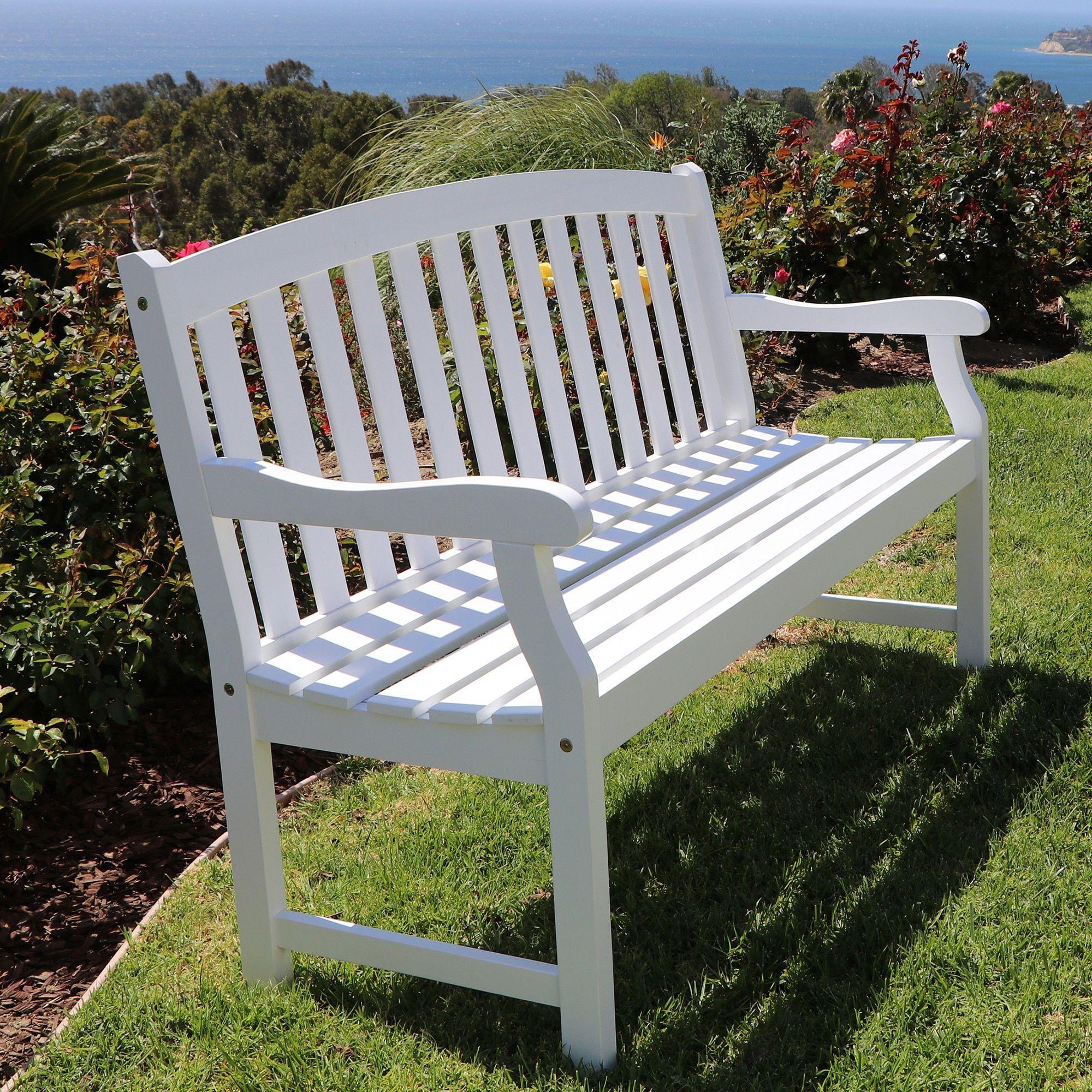 Bradley Outdoor White Weather Resistant Wood Bench Outdoor