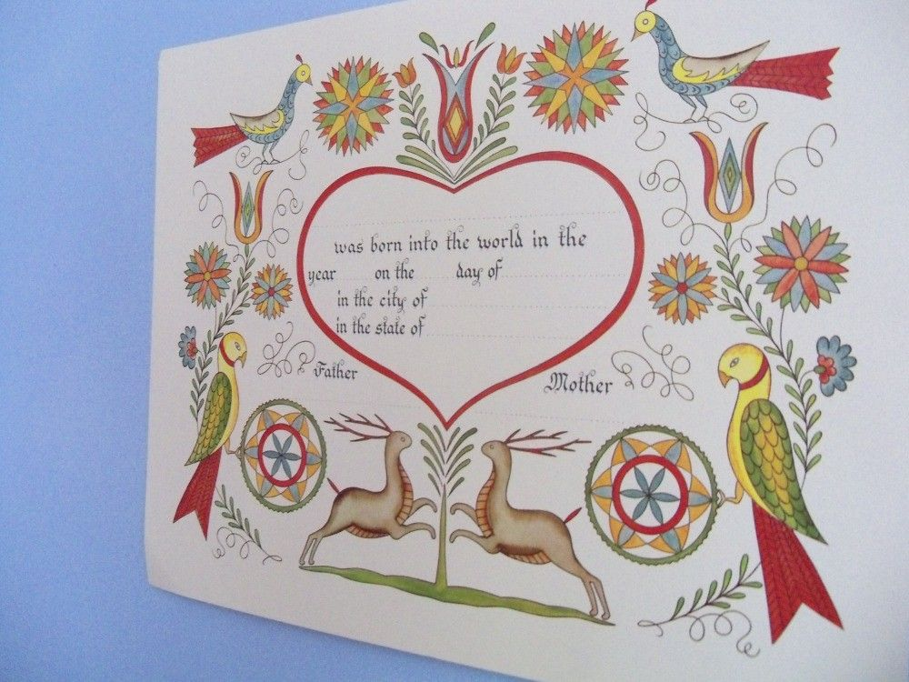 Pennsylvania Dutch Folk Art Birth Certificate... | Folk Art/Design ...