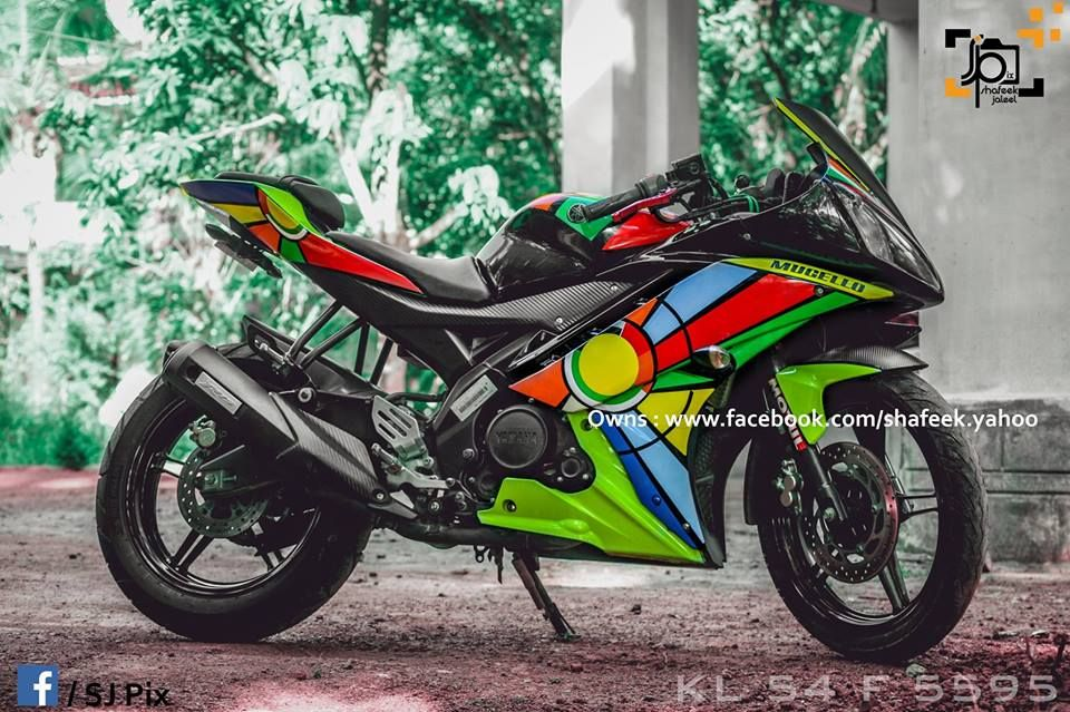 Yamaha R15 V2 Modified in Kerala- Abstract Stickers