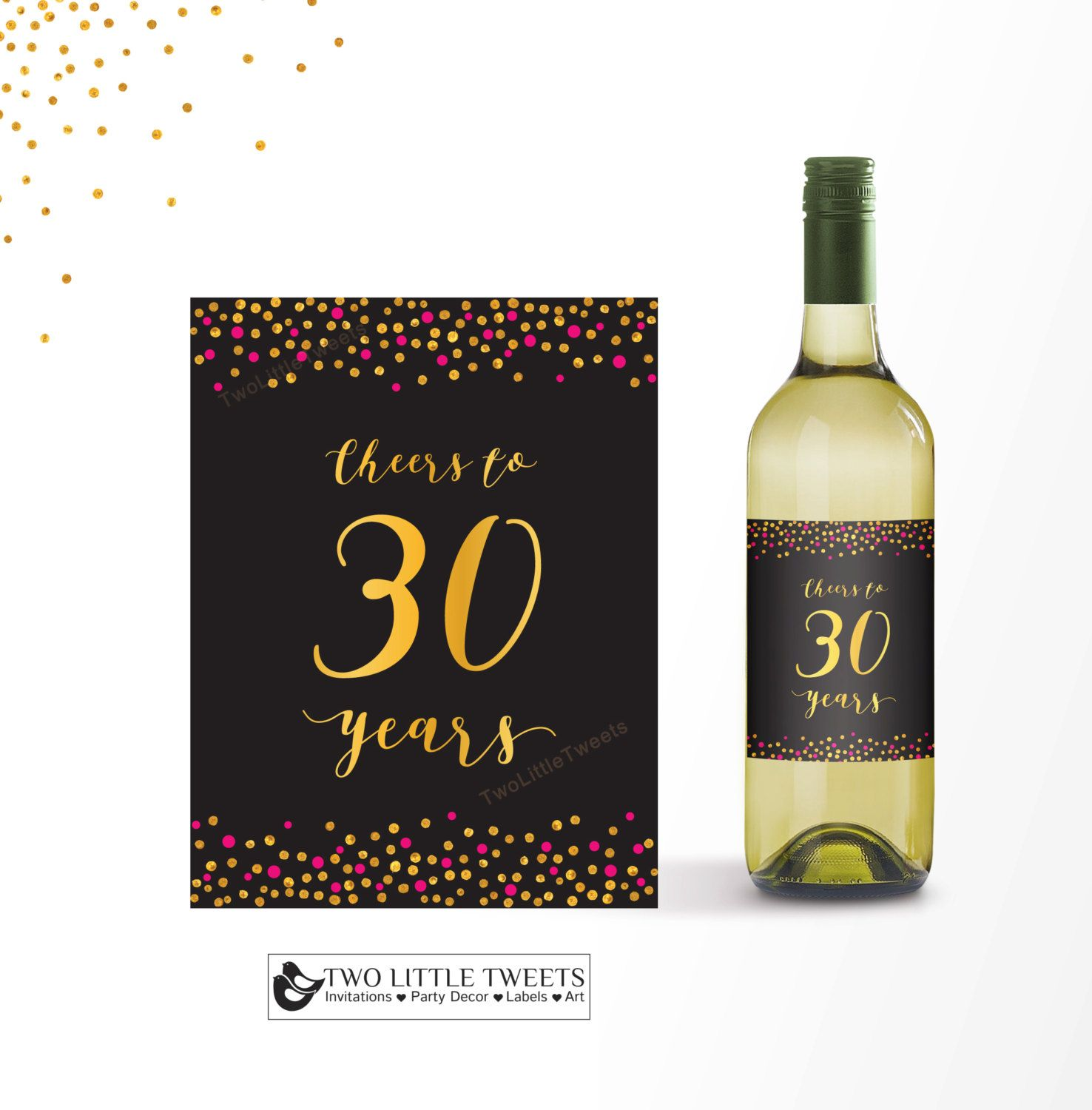 cheers to 30 years wine label printable pink and gold confetti