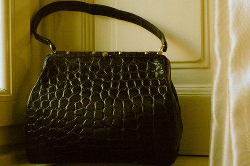 Crocodile black vintage handbag - Borsa Vintage coccodrillo