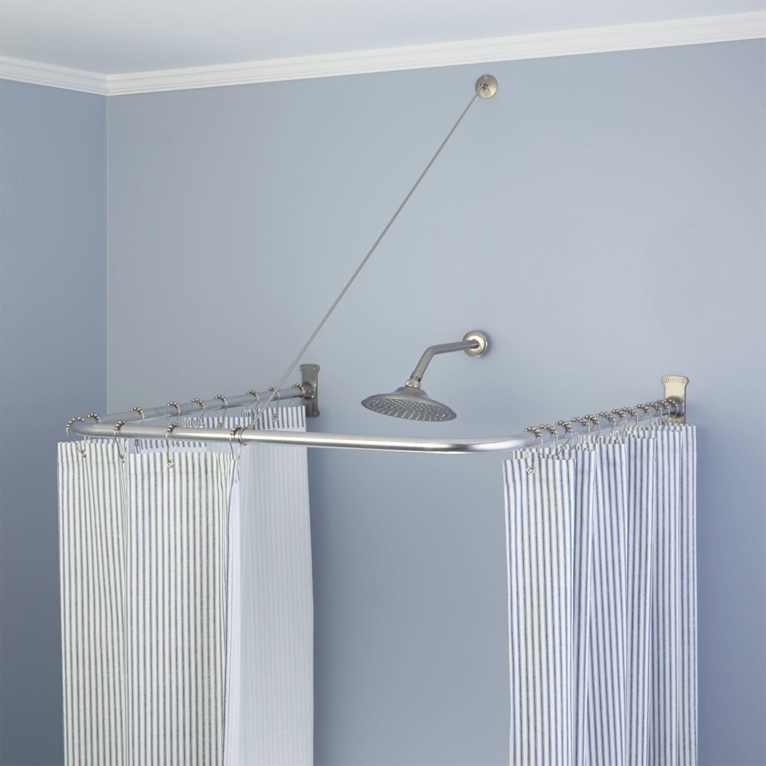 U Shaped Shower Curtain Rod With Support