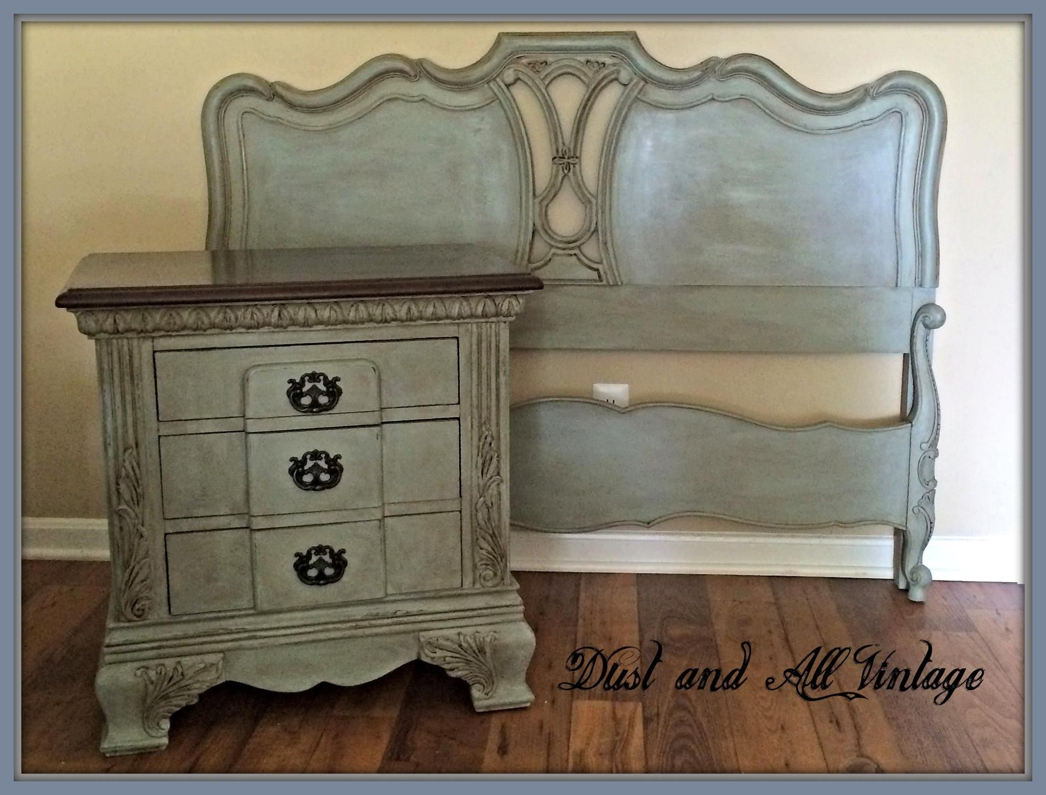 A Bedroom Set Finished In Duck Egg Blue And French Linen Chalk Paint Decorat Chalk Paint Bedroom Furniture Painted Bedroom Furniture Vintage Bedroom Furniture