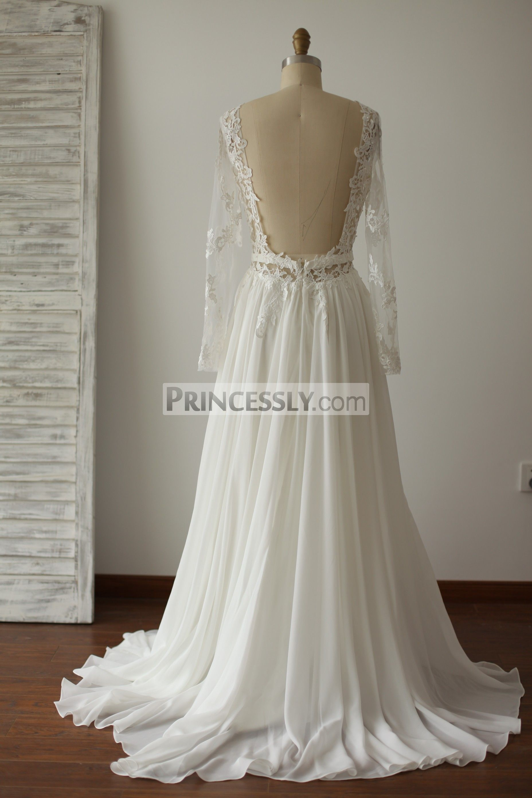 A Line Long Sleeves Backless Lace Chiffon Wedding Dress with Sweep ...