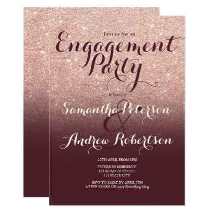Rose gold glitter burgundy red engagement party card - invitations ...