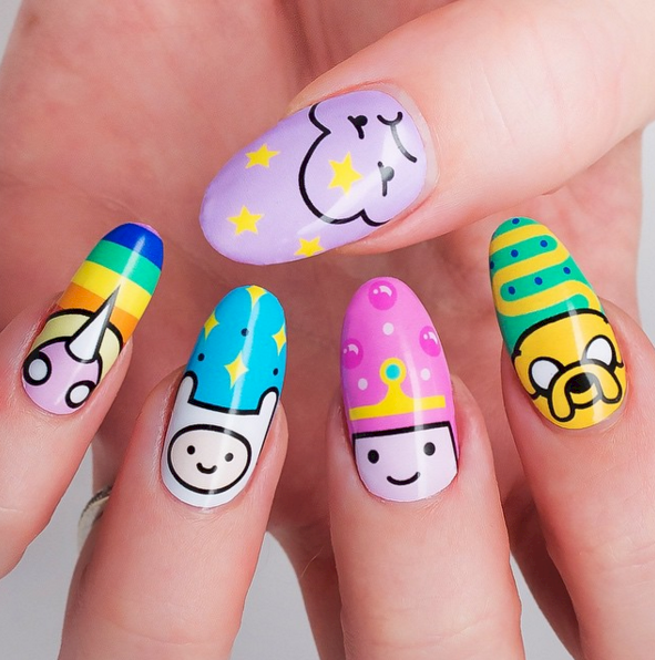 Check out these fun nail designs inspired by your favorite cartoons! - 16 Nail Styles For All Your Favorite Cartoons Cartoon, Kawaii