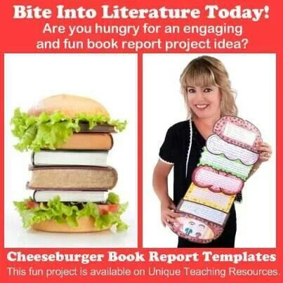Cheese burger book report template learning time Pinterest - grade 2 book report template