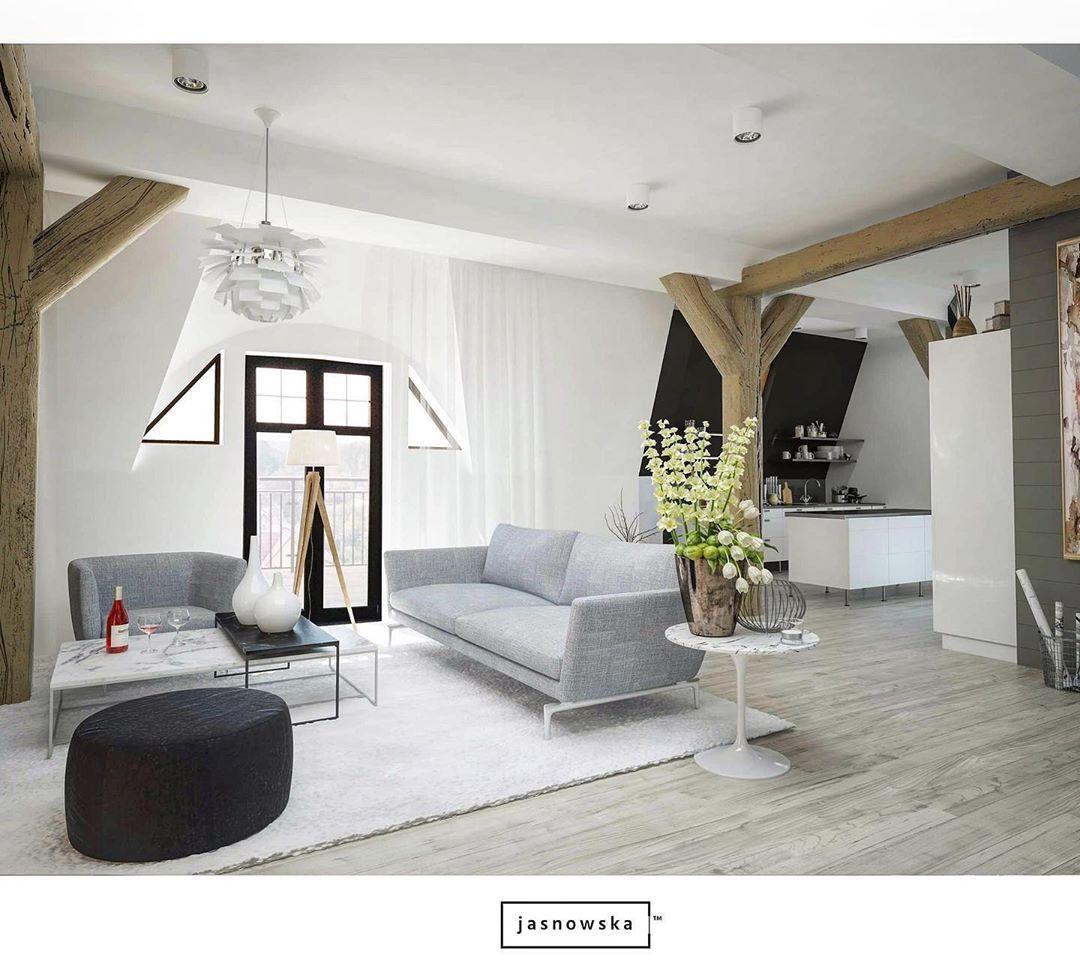 Living room in the attic apartment #attic #apartment #interior #interiordesign #architecture #interiorarchitecture #atticapartment