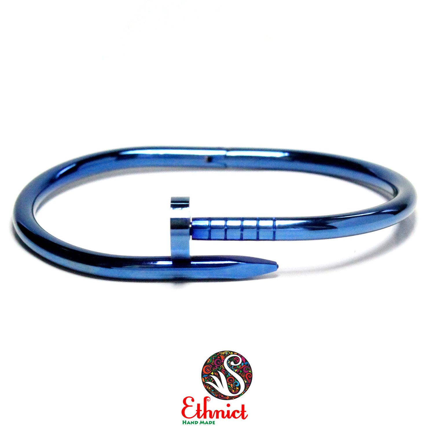 Nail Bracelet Stainless Steel Bangle Blue Mens Womens Cuff 24 90 Usd By Ethnicts