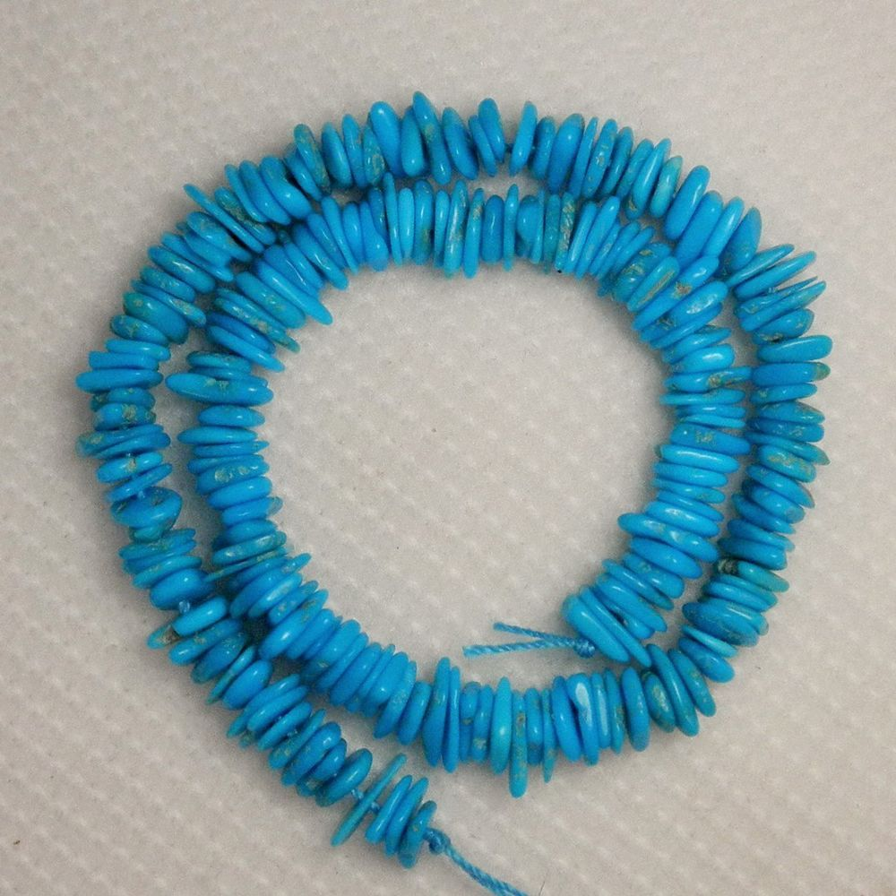 "Sleeping Beauty Turquoise Gemstone Chip Beads Blue 9"" Std Loose Craft Lot 646 #SleepingBeauty #Southwest"