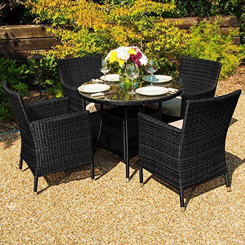 Maze Rattan Outdoor Garden Furniture Baby LA 4 Seat 80cm Round Table