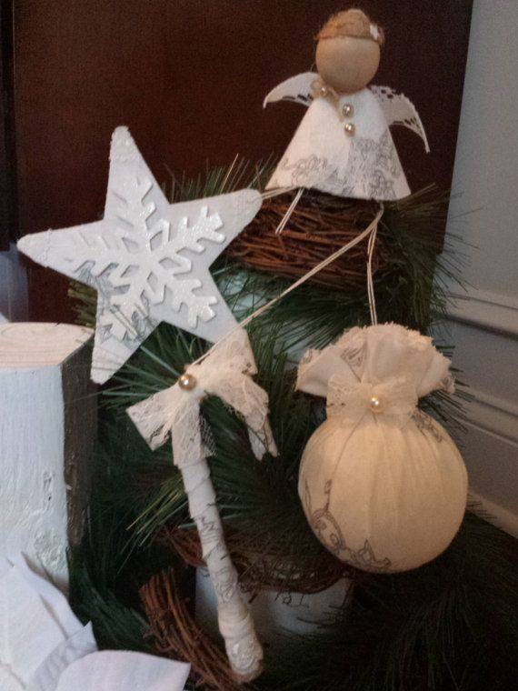 Set of 4 Shabby chic  Lace/Fabric ornaments by LynnsMill on Etsy, $6.00