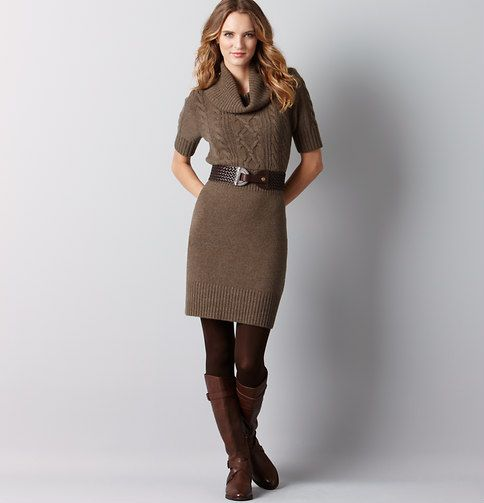 f4f0d9a585 Petite Cable Cowl Neck Sweater Dress