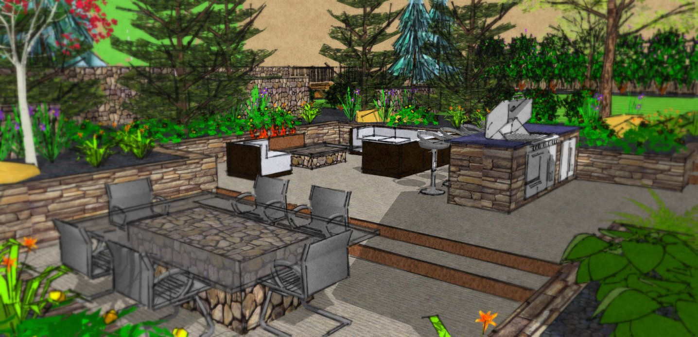A SketchUp Model of a back yard design for a bOulder Creek ...