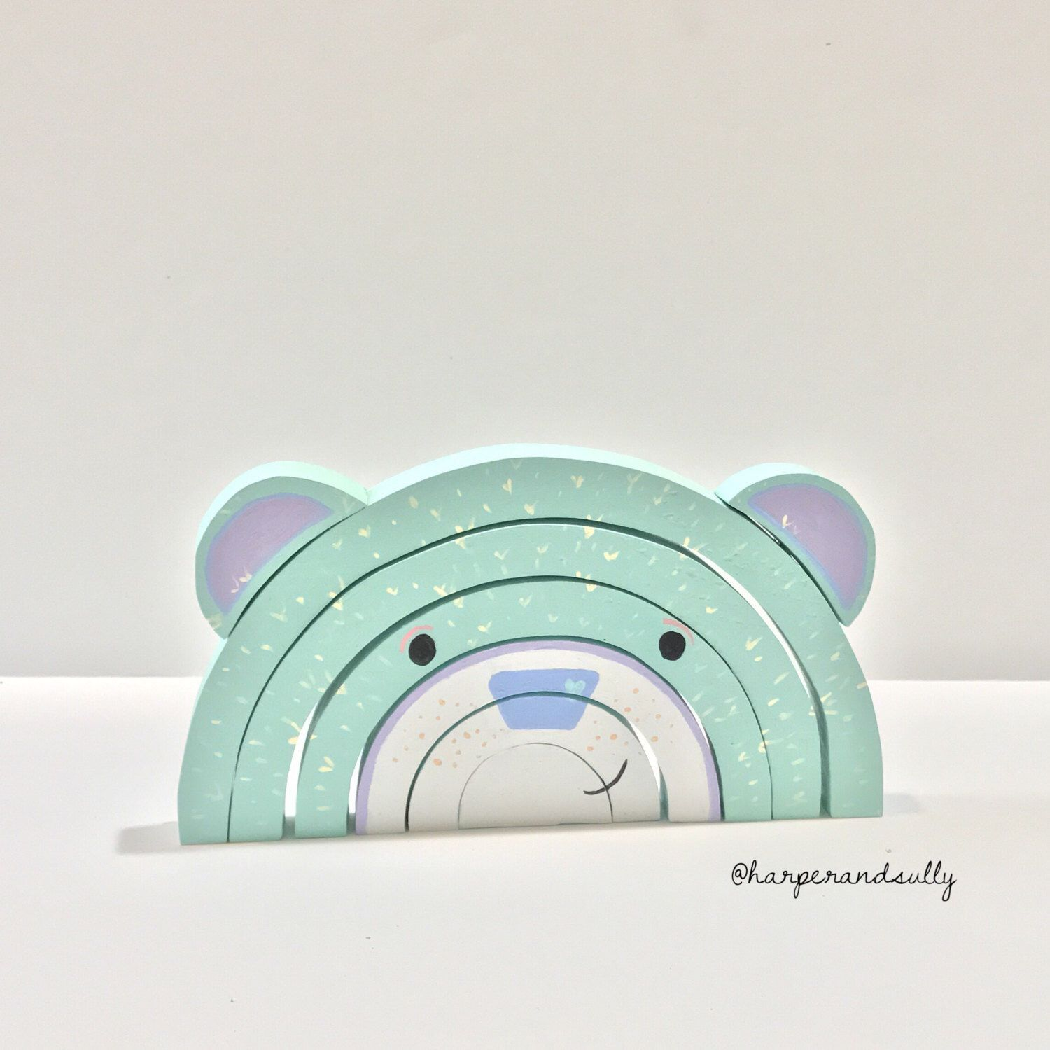 Beau the Bear wooden rainbow nesting stacker puzzle blocks handcrafted Montessori solid wood toy baby toddler gift by harperandsully on Etsy https://www.etsy.com/listing/507276443/beau-the-bear-wooden-rainbow-nesting