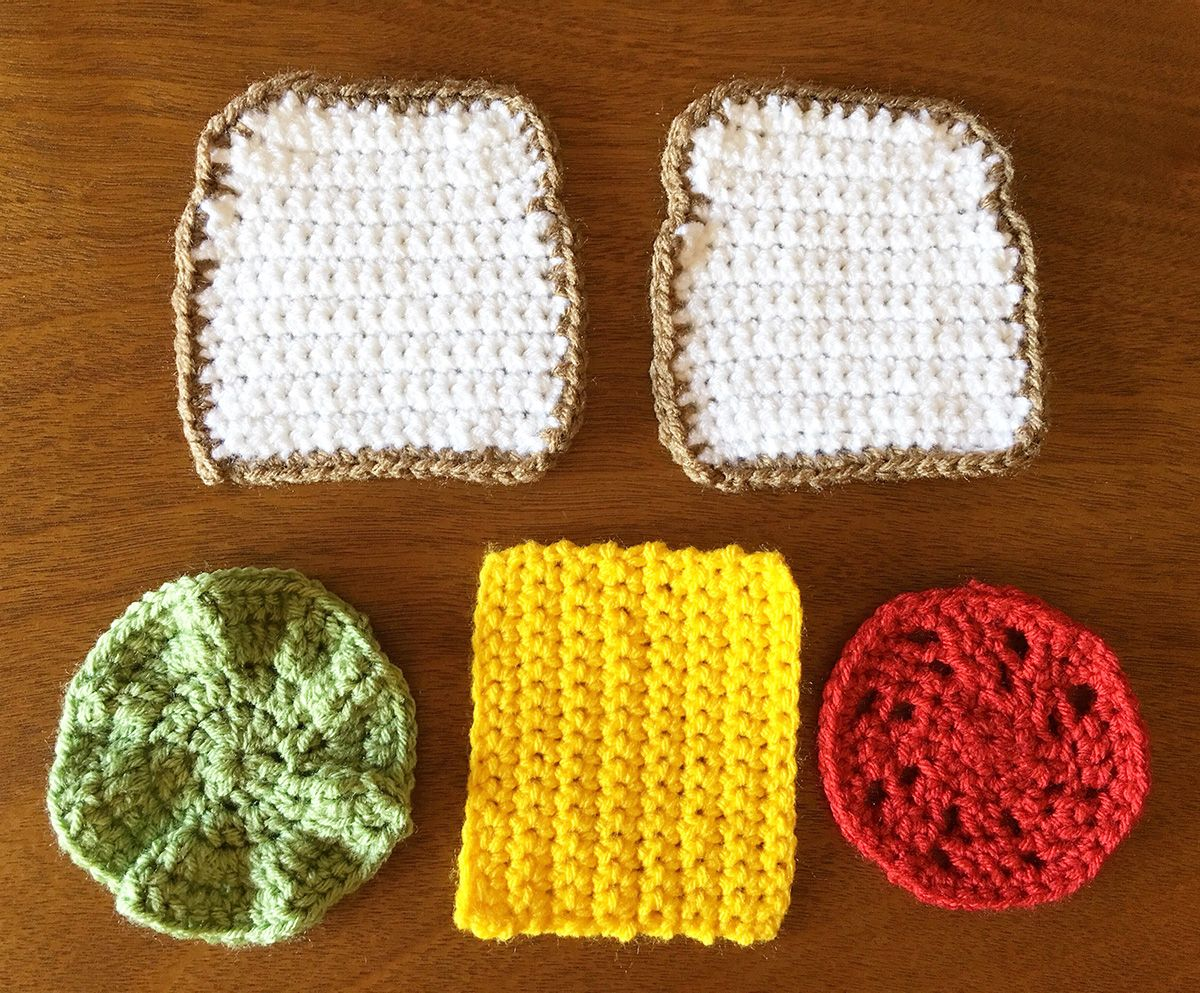 Crocheted Drink Coasters Stack Up as a Veggie Sandwich | Comedido ...
