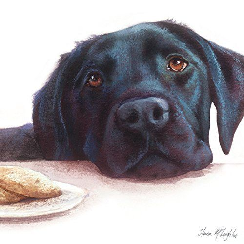 Watercolour Labrador (Black) Blank Greetings Card