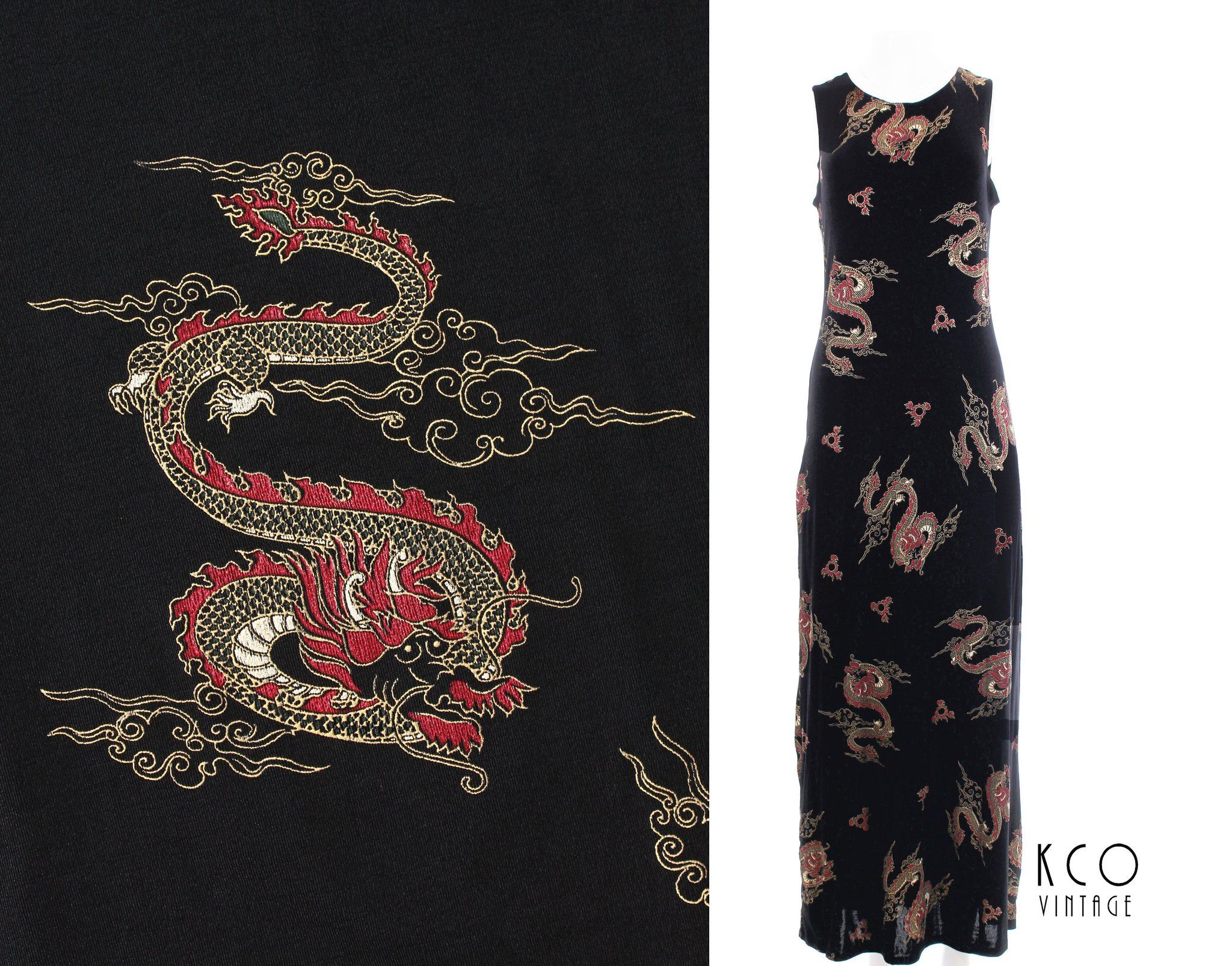 Dragon print maxi dress us vintage grunge goth slinky black red