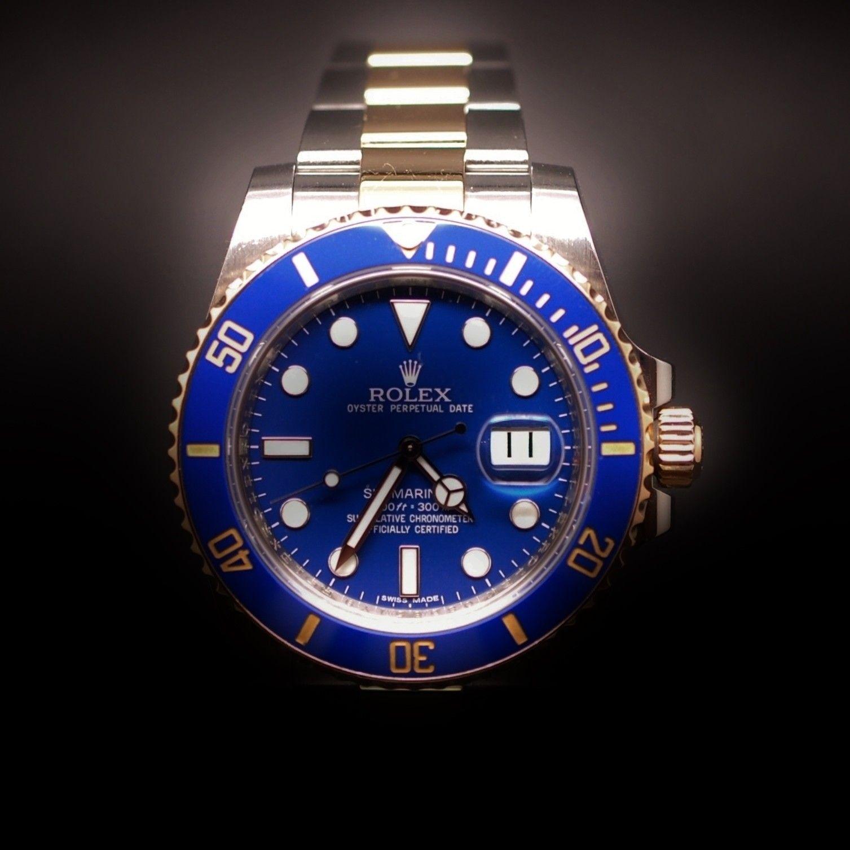Rolex Submariner Or Et Acier Fond Bleu