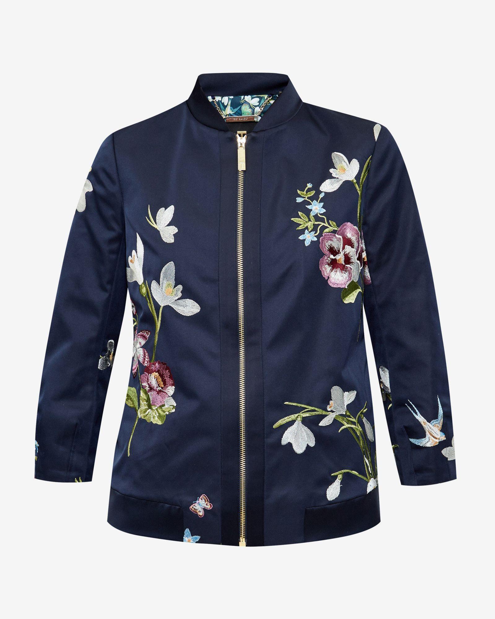 Spring Meadow Embroidered Bomber Jacket Dark Blue Jackets Amp Coats Ted Baker Uk Patterned Bomber Jacket Floral Bomber Jacket Casual Shirt Women [ 2000 x 1599 Pixel ]