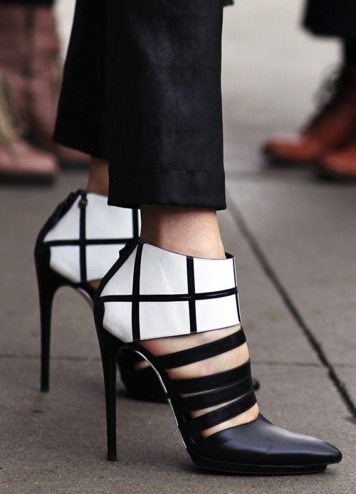 balenciaga black and white shoe strap booties