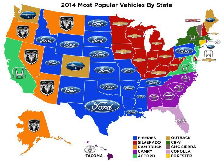 The most popular vehicles by state 2014 See the USA in a