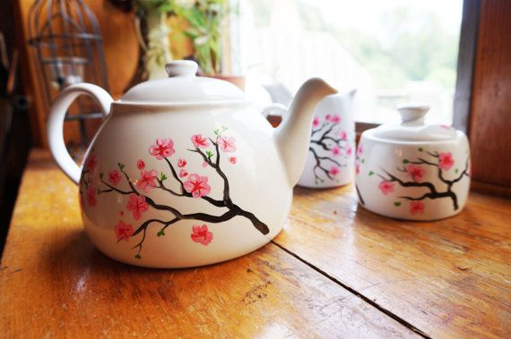 Cherry Blossom Tea Set Pot Sugar and Cream  by MelissaWynneDesigns, $87.00