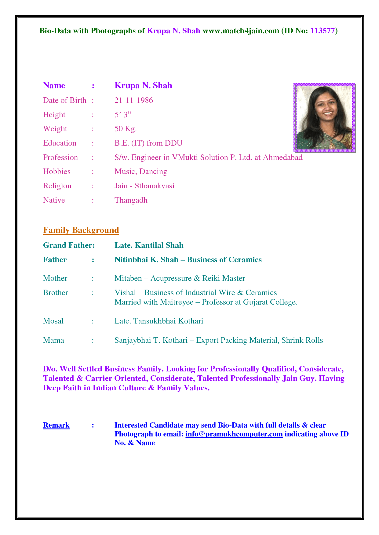 Resume for marriage purpose for boy
