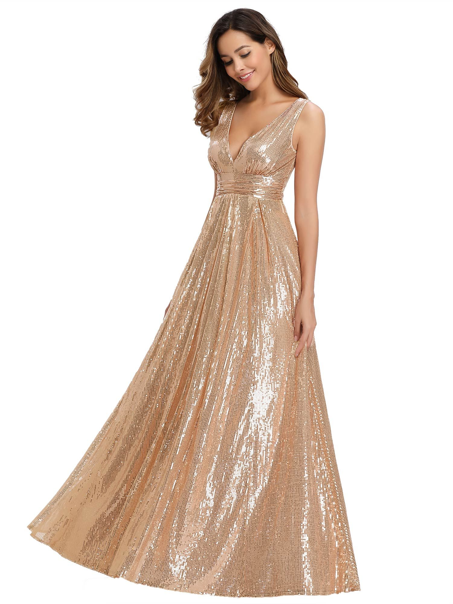 Ever Pretty Us Rose Gold V Neck Long Evening Dresses Wedding Pageant Party Gowns Gold Lace Dress Long Lace Wedding Guest Dress Lace Dress