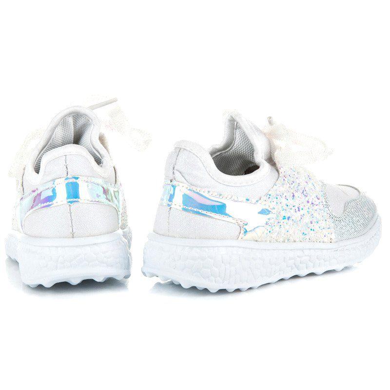 Buty Sportowe Dzieciece Dla Dzieci Butymodne Biale Wiazane Buciki Z Brokatem Butymodne Baby Shoes Shoes Fashion