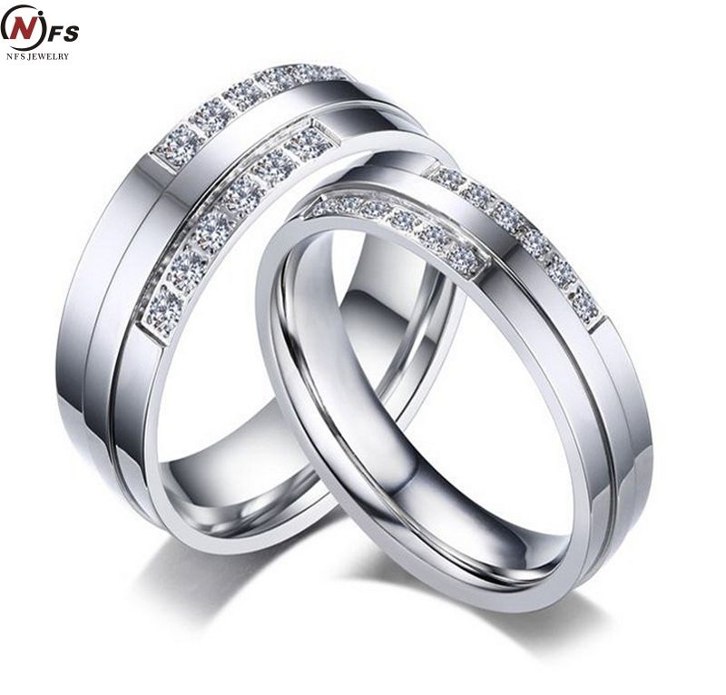 Click To Buy Nfs 2pcs Pair Super Deal Stainless Steel Zircon Couple Ring Titan Colored Engagement Rings Beautiful Jewelry Ring Engagement Ring White Gold