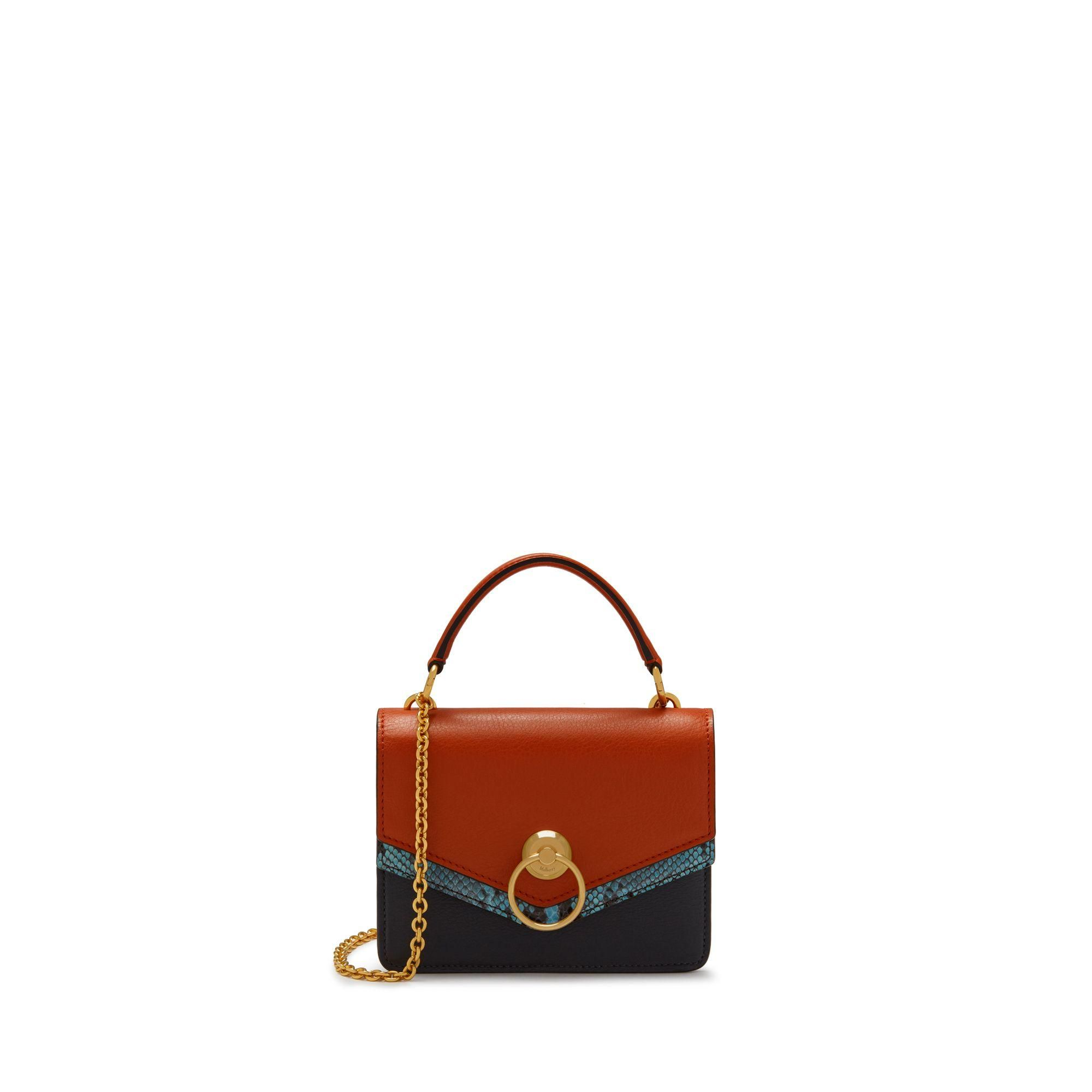 a9bef4aa8ac Small Harlow Satchel In Seal Grey, Rust And Frozen Silky Calf And Python -  Brown - Mulberry Shoulder bags